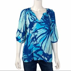 Lilly Pulitzer Blue Open Sleeve Tunic/Blouse SZ M